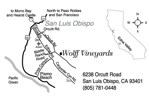 Custom map showing Wolff Vineyards location in the San Luis Obispo, CA, area